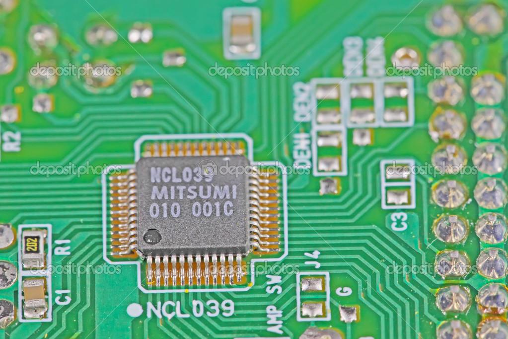 印刷电路板的特写– 图库图片