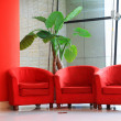 Red sofa and green flowers in the hall — Stock Photo #26113491