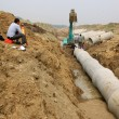 Stock Photo: Drainage pipe construction site