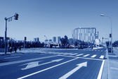 Beijing Olympic sports center at the intersection — Stock Photo