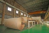 Mechanical equipment in a paper mill factory — Stok fotoğraf