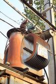 Transformador - um tipo de instalações de fornecimento de energia — Fotografia Stock