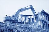 Koparka odpadków budowlanych oczyścić witryny — Zdjęcie stockowe