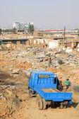 Demolition of smoldering rubble — Stock Photo