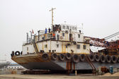 Closeup of transport ship — 图库照片