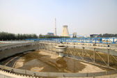 Sewage treatment works building facilities — Stock Photo