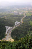 Overlooking highway in mountain area — Stok fotoğraf