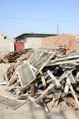 Construction waste and wood — Stockfoto