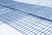 Grid by steel binding in a construction site — Stock Photo
