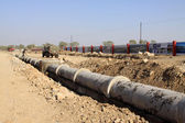 Drainage pipe construction site — Stock Photo