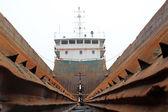 Maintenance of barges — Stock Photo