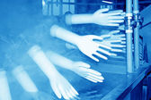 Acrylonitrile butadiene gloves production line  — Stock Photo
