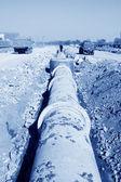 Local de construção de tubulação de drenagem — Foto Stock