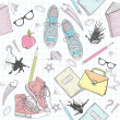 Stockvector : Cute school abstract pattern. Seamless pattern with shoes, bags