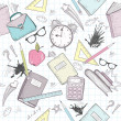 Cute school abstract pattern. Seamless pattern with alarm clock — Imagens vectoriais em stock