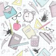 Stockvector : Cute school abstract pattern. Seamless pattern with alarm clock