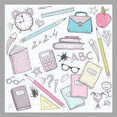 School supplies elements on lined sketchbook paper background — Stock Vector