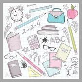 School supplies elements on lined sketchbook paper background — Stock Vector