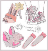Fashion shoes set — Stock Vector