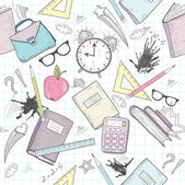 Cute school abstract pattern. Seamless pattern with alarm clock — ストックベクタ