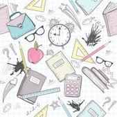 かわいい学校の抽象的なパターン。目覚まし時計とのシームレスなパターン — ストックベクタ