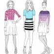 Young fashion girls illustration. — Stockvectorbeeld