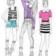 Young fashion girls illustration — Stockvectorbeeld