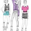 Stock Vector: Young fashion girls illustration