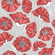 Seamless floral poppy pattern — Vettoriali Stock