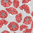 Seamless floral poppy pattern — ベクター素材ストック