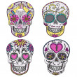 Mexicskull set. Colorful skulls with flower and heart — Vecteur #13853682