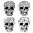 Stok Vektör: Ornament skull set.