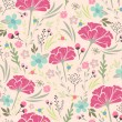 Seamless floral pattern. Background with flowers and leafs. — Vector de stock #13853742