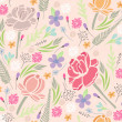 Seamless floral pattern. Background with flowers and leafs. — Vector de stock #13853787