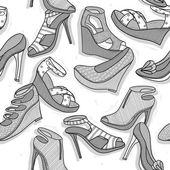 Fashion shoes seamless pattern for girls — Stock Vector
