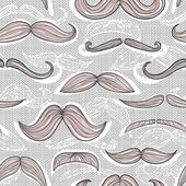 Trendy mustache seamless pattern — Stock Vector
