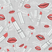 Lips and lipsticks beauty seamless pattern — ストックベクタ