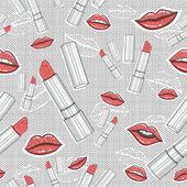 Läppar och läppstift skönhet seamless mönster — Stockvektor
