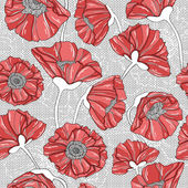 Seamless floral poppy pattern — Stock Vector