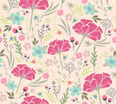Seamless floral pattern. Background with flowers and leafs. — Vettoriale Stock