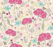Sömlös blommönster. bakgrund med blommor och blad — Stockvektor