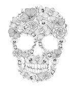 花から頭蓋骨. — ストックベクタ
