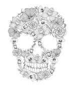 Skull from flowers. — Vector de stock