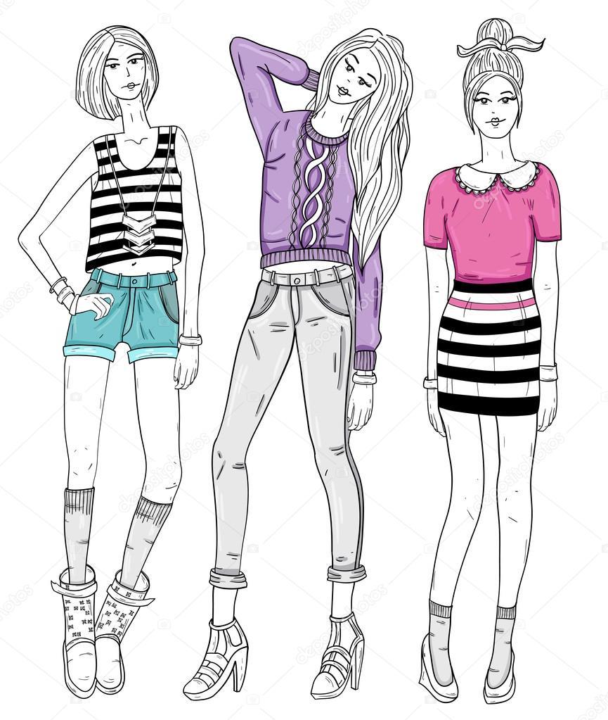 Одежда для девочек рисунки карандашом для