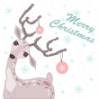 Christmas card with deer — Imagen vectorial