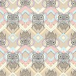 Cute owl seamless pattern with native elements — Vecteur #15325029