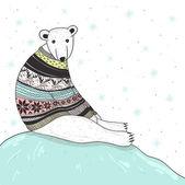 Christmas card with cute polar bear. Bear with fair isle style s — Stock Vector
