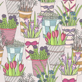 Cute seamless floral pattern. Pattern with flowers in buckets. — Stockvector