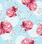 Seamless pattern with flowers Floral background with roses and — Stock Vector
