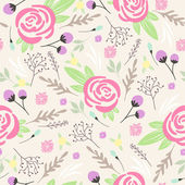 Seamless floral pattern. Background with flowers and leafs — Stock Vector